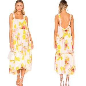 Free People XS Midi Dress Linen Blend Floral Ivory White Pink Yellow Moonshine